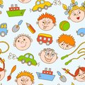 Seamless doodle smiling boys and girls with toys pattern vector illustration Royalty Free Stock Images