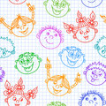 Seamless doodle smiling kids faces pattern vector illustration Royalty Free Stock Images