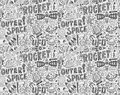 Seamless doodle space pattern cartoon vector illustration Stock Photos