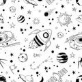 Seamless doodle space pattern. Trendy kids cosmos graphic elements, astronomy pencil sketch. Vector star planet meteor Royalty Free Stock Photo