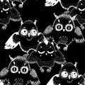 Seamless doodle style owl bird family pattern.