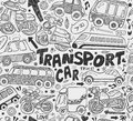 Seamless doodle transport pattern cartoon vector illustration Stock Photos
