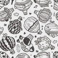 Seamless doodlehot air balloon pattern cartoon illustration Royalty Free Stock Photo