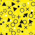 Seamless dots modern pattern. Yellow background geometry circle, star color seamless fabric sample. geometric pattern swatch