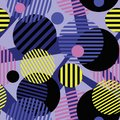 Seamless dotted circles colorful pattern, stripped round shapes