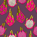 Seamless dragon fruit colorful decorative background pattern Royalty Free Stock Photo