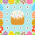 Seamless easter background with cake card Stock Photos