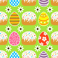 Seamless easter background with cake green card Royalty Free Stock Images