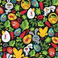 Seamless easter background with monsters vector pattern Royalty Free Stock Photography