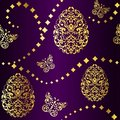 Seamless Easter background in purple and gold Stock Images