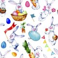Seamless easter bunnies pattern. Watercolor illustration on white background. Pattern with cartoon bannies, eggs, carrots, candy