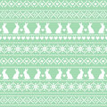 Seamless Easter pattern, card - Scandinavian sweater style. Green and white vector spring holiday background.