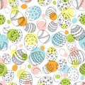 Seamless Easter pattern with doodle ornamental eggs