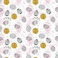 Seamless easter pattern with gold glitter dots, ornamental black hand drawn eggs, leaves, butterflies on white