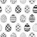 Seamless easter pattern with ornamental black hand drawn eggs on white background. Easter holiday background. Vector