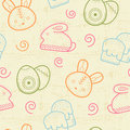 Seamless Easter pattern with outlined Easter bunnies, colored eggs and simnel cakes
