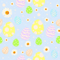 Seamless easter pattern with painted eggs, chamomile flowers and dots