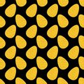 Seamless easter vector pattern with big flat eggs in golden glitter on black background, shine gold sprinkles effect Royalty Free Stock Photo