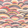 Seamless embroidered pattern. Wavy bohemian print. Patchwork ornament. Vector illustration Royalty Free Stock Photo