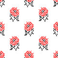 Seamless embroidered texture of flowers roses Royalty Free Stock Photo
