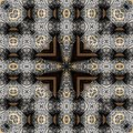 Seamless engraved metalwork pattern silver and gold inlay sacred geometry Royalty Free Stock Image