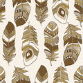 Seamless ethnic Indian feathers plumage  pattern Royalty Free Stock Image