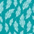 Seamless ethnic pattern of beautiful feathers