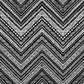 Seamless ethnic pattern drawn by hand. Black and white vector il