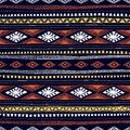 Seamless ethnic pattern drawn by hand. Multicolored geometric el