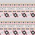 Seamless ethnic pattern, gray, pink background.