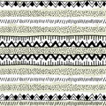 Seamless ethnic pattern handmade. Black and white geometric band Royalty Free Stock Photo