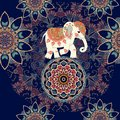 Seamless ethnic pattern with mandala flowers and indian elephant on the ball