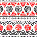 Seamless ethnic pattern. Tribal and aztec. Red, white and black