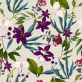 Seamless exotic floral fashion pattern tropical wallpaper Stock Images