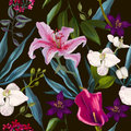 Seamless exotic floral fashion pattern tropical wallpaper Royalty Free Stock Images