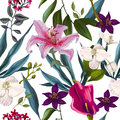 Seamless exotic floral fashion pattern tropical wallpaper Stock Photography