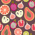Seamless exotic fruit decorative colorful background pattern Royalty Free Stock Image