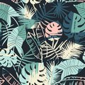 Seamless exotic pattern with tropical plants and artistic background Royalty Free Stock Photo