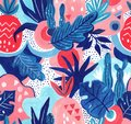 Seamless exotic pattern with tropical plants. Gouache background. Royalty Free Stock Photo