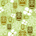 Seamless Exotic Tiki Paradise Pattern Stock Photography