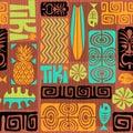 Seamless Exotic Tiki Pattern. Vector illustration.