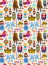 Seamless fairy tale pattern cartoon vector illustration Stock Photo