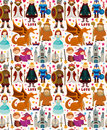 Seamless fairy tale pattern cartoon vector illustration Royalty Free Stock Photo