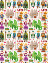 Seamless fairy tale pattern cartoon vector illustration Royalty Free Stock Images