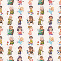 Seamless family pattern Stock Photos