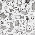 Seamless family pattern cartoon vector illustration Stock Photo