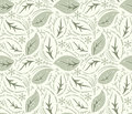 Seamless fancy leaves vector wallpaper background Royalty Free Stock Images