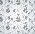Seamless fancy silver floral wallpaper vector Royalty Free Stock Photography