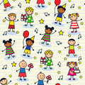Seamless festive background with children