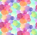 Seamless festive pattern with multicolored confetti on white background. Gradient bokeh.